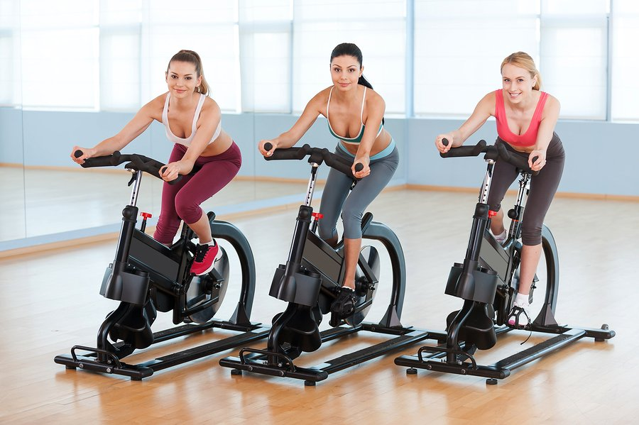 girls on spin bikes