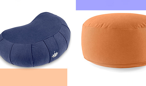different  shapes of yoga cushions