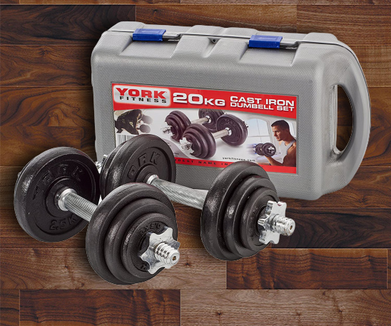 dumbbells with case