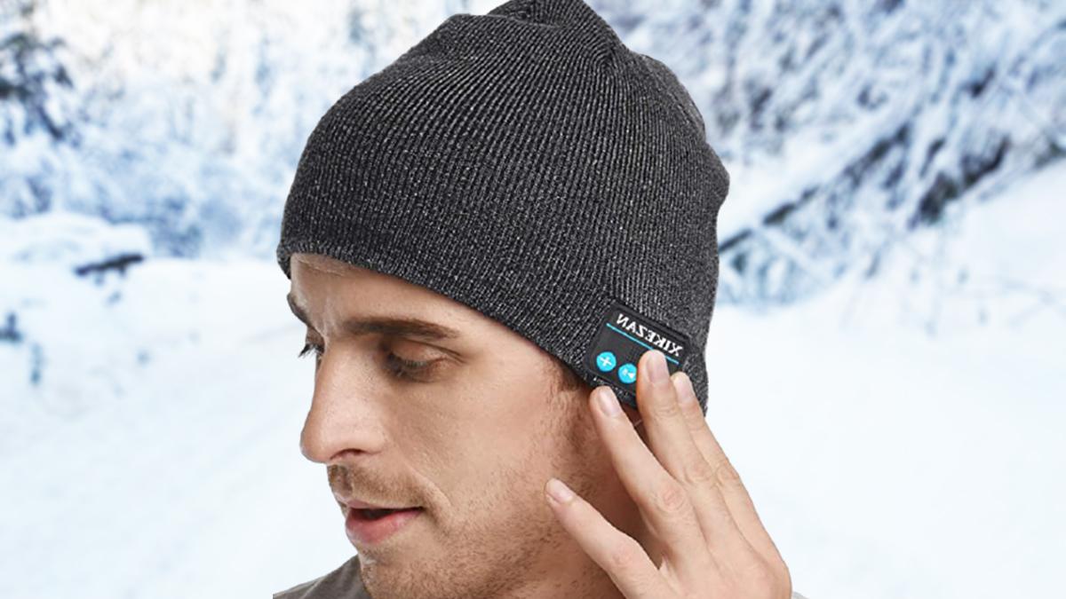 hat with Bluetooth headphones