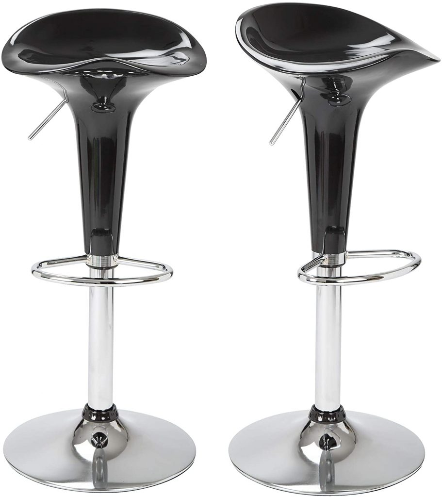 BRAVICH Set of 2 High Gloss Breakfast Barstool