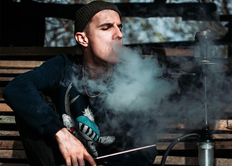 Man smoke hookah